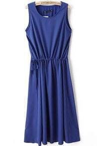 Royal Blue Sleeveless Drawstring Waist Chiffon Long Dress