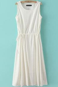 White Sleeveless Drawstring Waist Chiffon Long Dress