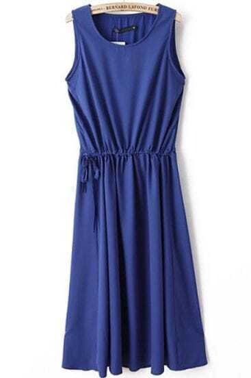 Royal Blue Sleeveless Drawstring Waist Chiffon Long Dress
