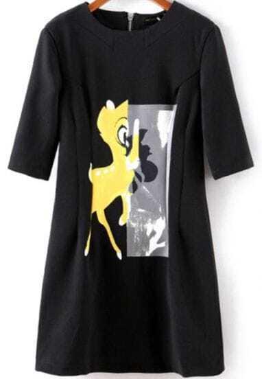 Black Short Sleeve Deer Print Zipper Back Dress