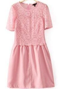 Pink Short Sleeve Contrast Lace Zip Back Dress