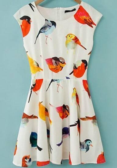 robe évasée motif oiseaux