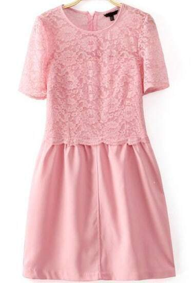 Pink Short Sleeve Contrast Lace Zip Back Dress