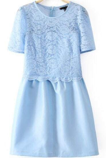 Sky Blue Short Sleeve Contrast Lace Zip Back Dress