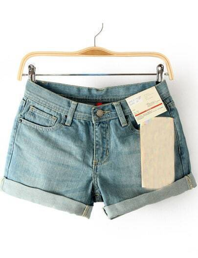 Light Blue Turn-up Hem High Waist Denim Shorts