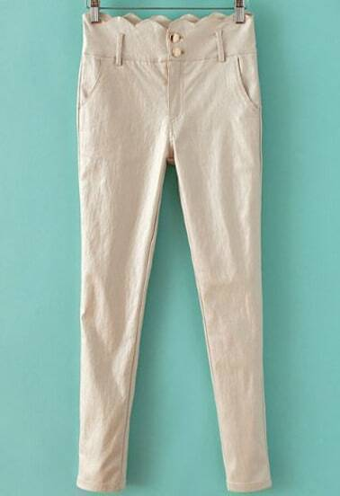 Beige Scallopped Waist Skinny Pant