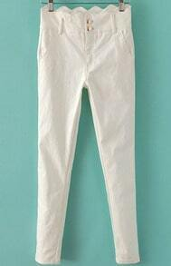White Scallopped Waist Skinny Pant