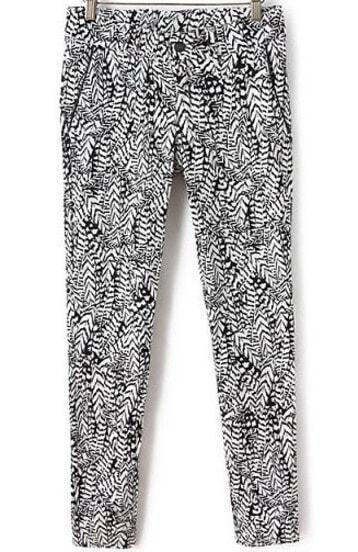 Black Double Pockets Leaf Print Pant