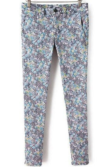 Light Blue and Black Florals Print Skinny Pant
