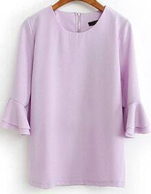 Light Purple Flare Three Quarter Length Sleeve Blouse