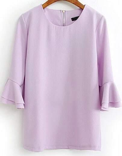 Light Purple Flare Three Quarter Length Sleeve Blouse