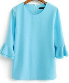 Light Blue Flare Three Quarter Length Sleeve Blouse
