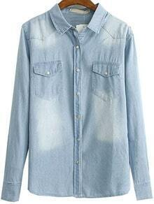 Light Blue Water Wash Long Sleeve Blenched Denim Blouse