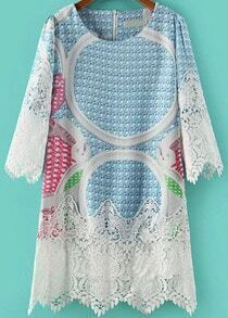 Blue Three Quarter Length Sleeve Contrast Lace Hem Print Dress