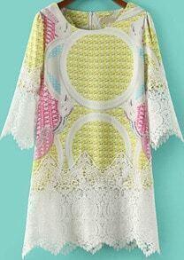 Yellow Three Quarter Length Sleeve Contrast Lace Hem Print Dress