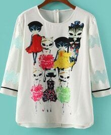 White Three Quarter Length Sleeve Cats Print Blouse