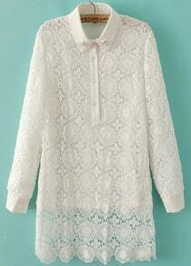 White Long Sleeve Laple Contrast Lace Blouse