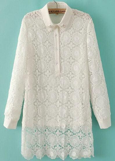 White Long Sleeve Laple Contrast Lace Blouse