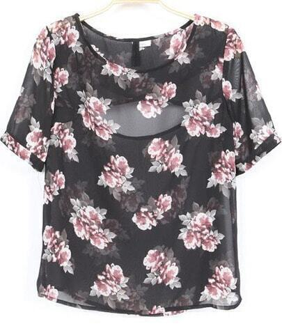 Black Short Sleeve Florals Cut Out Back Sheer Blouse