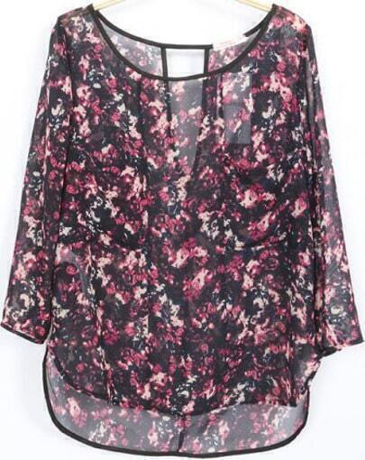 Red Crop Sleeve Florals Cut Out Back Sheer Blouse
