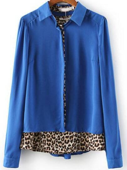 Royal Blue Long Sleeve Contrast Leopard Print Blouse