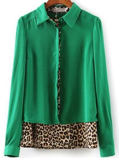 Green Long Sleeve Contrast Leopard Print Blouse