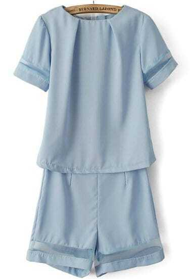 Blue Short Sleeve Contrast Gauze Top with Shorts
