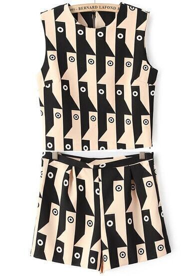 Black and Yellow Sleeveless Geometric Print Top with Shorts