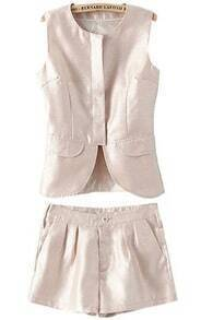 Beige Sleeveless Vest with Shorts