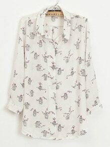 Beige Long Sleeve Flowers and Birds Print Blouse