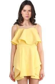 Yellow Spaghetti Strap Ruffle Party Dress