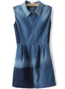 Blue Lapel Sleeveless Bleached Denim Dress