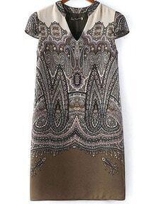 Brown V Neck Vintage Floral Straight Dress