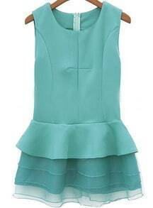 Green Sleeveless Contrast Organza Ruffle Dress
