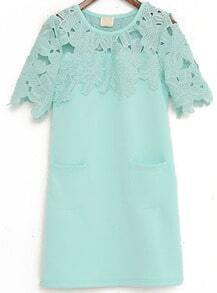 Green Contrast Lace Floral Crochet Dress