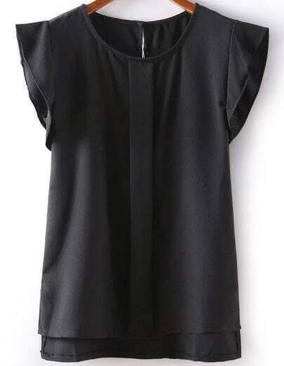 Black Ruffle Sleeve Dipped Hem Chiffon Blouse