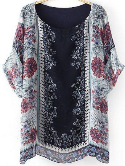 Black Short Sleeve Vintage Floral Chiffon Blouse