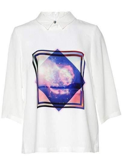 White Lapel Galaxy Print Loose Blouse