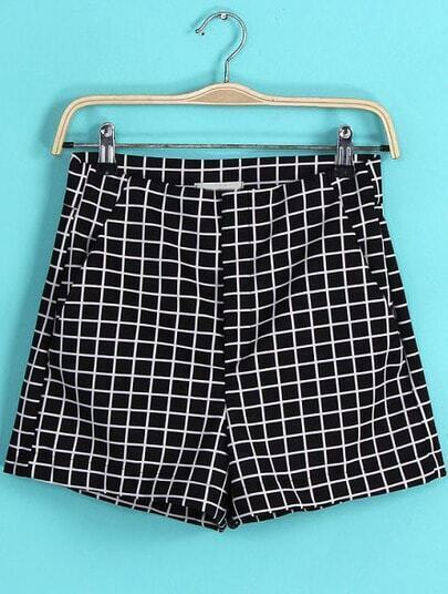 Black Plaid Straight Shorts