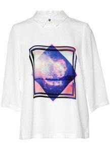 White Lapel Galaxy Print Loose Blouse