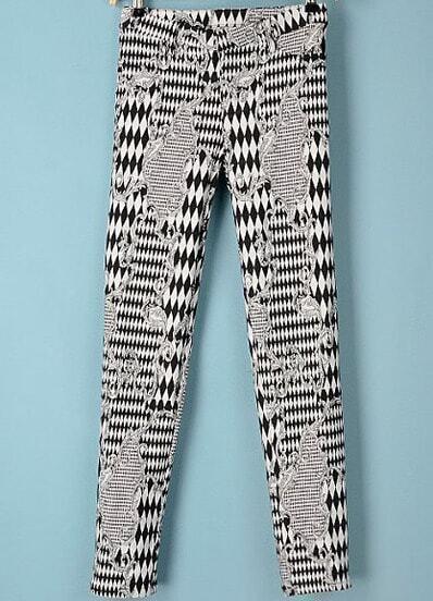 Black White Elastic Geometric Print Pant