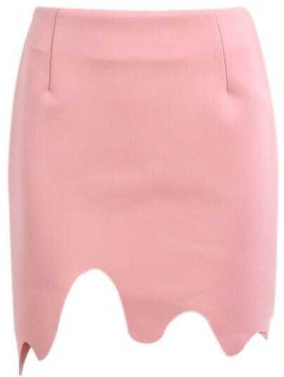Pink Asymmetrical Bodycon Skirt