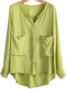 Green Long Sleeve Pockets Loose Chiffon Blouse