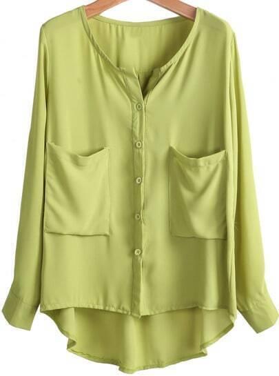 Green Long Sleeve Pockets Loose Chiffon Blouse