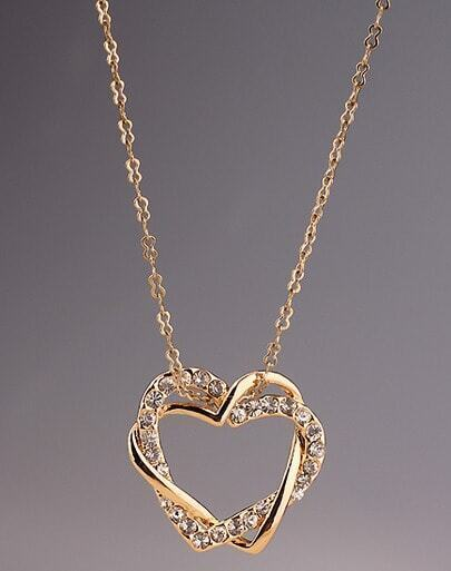 Gold Diamond Heart Necklace