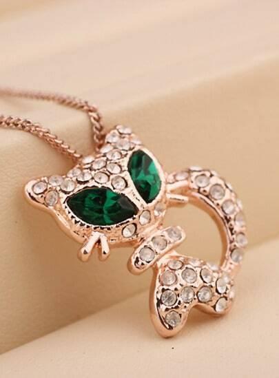 Green Gemstone Gold Diamond Cat Necklace