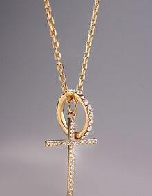 Gold Diamond Circle Cross Necklace