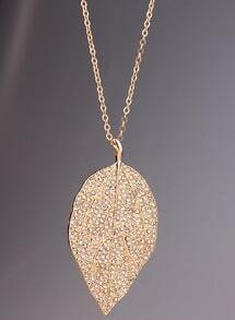 Gold Diamond Leaf Necklace