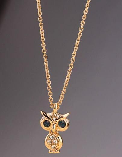 Gold Diamond Owl Necklace