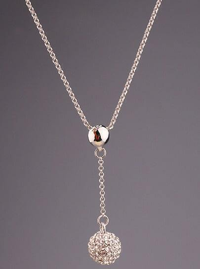 Silver Diamond Ball Chain Necklace